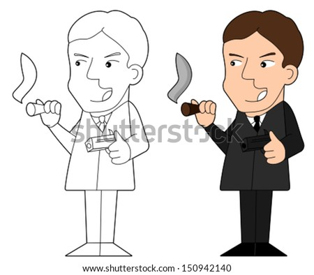 Cartoon / Illustration and line-art of gangster holding a cigar and revolver - stock vector