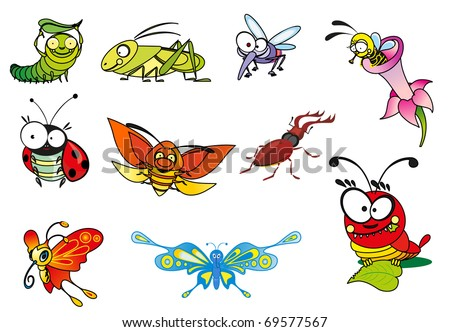 Cartoon illustration - crazy insect. - stock vector