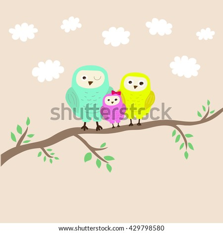 Cartoon illustration: cutest family of owls on the tree. Happy parents and baby.