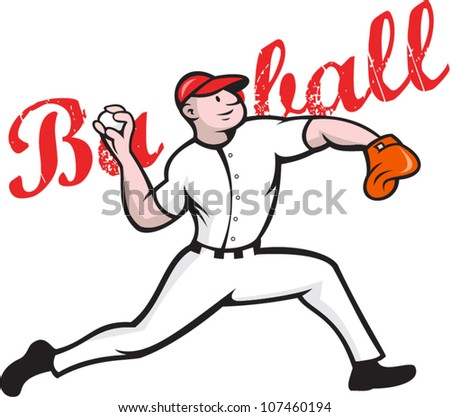 Cartoon illustration of a baseball player pitcher pitching ball throwing ball on isolated white background with words baseball. - stock vector