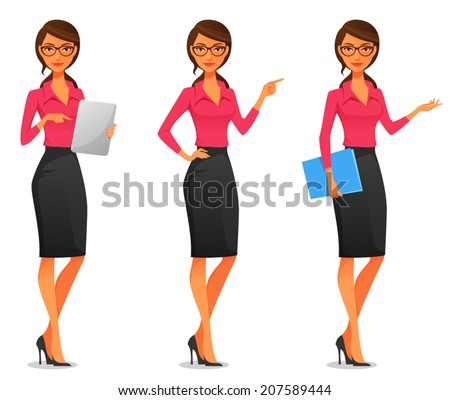 cartoon illustration of a beautiful young business woman in various poses - stock vector