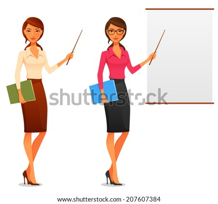 cartoon illustration of a beautiful young business woman presenting with a pointer and board - stock vector