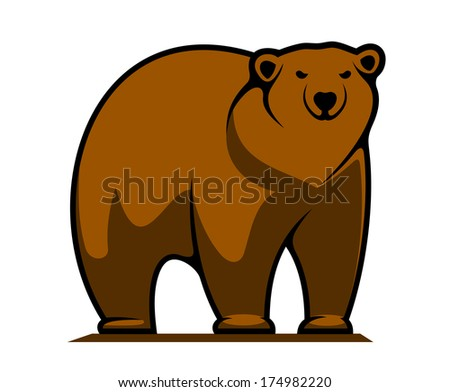 Cartoon illustration of a big brown grizzly or brown bear logo standing watching the viewer isolated on white - stock vector