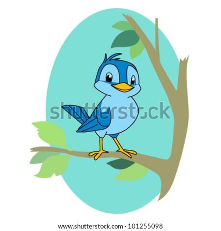 cartoon illustration of a bird on a a branch - stock vector