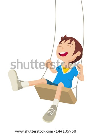Cartoon illustration of a boy playing on a swing - stock vector