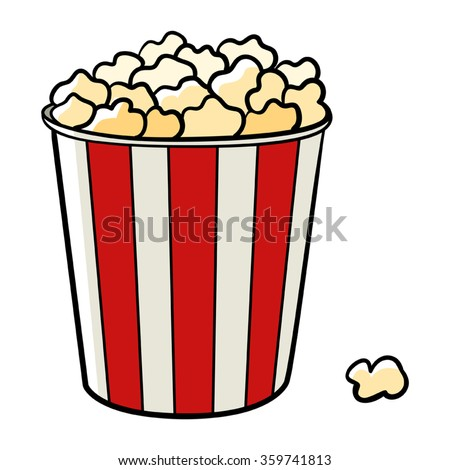 Cartoon illustration of a bucket of popcorn