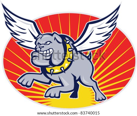 cartoon illustration of a bulldog with wings flying set inside oval with sunburst on isolated background