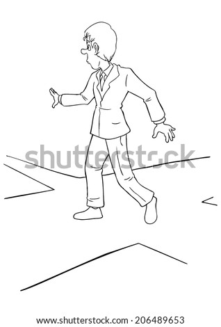 Cartoon illustration of a businessman at the intersection