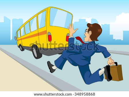 Cartoon illustration of a businessman chasing the bus - stock vector
