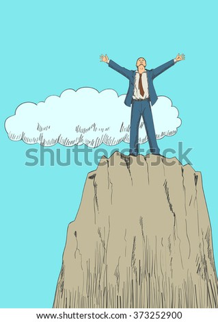 Cartoon illustration of a businessman standing with open arms on top of a mountain. Success, determination, freedom concept - stock vector