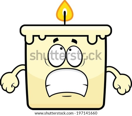 Cartoon illustration of a candle with a worried expression.  - stock vector