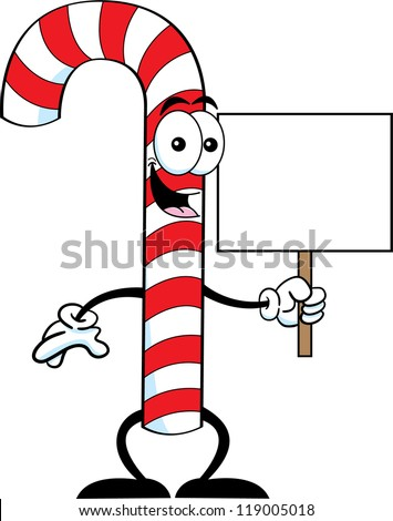Cartoon illustration of a candy cane holding a sign.