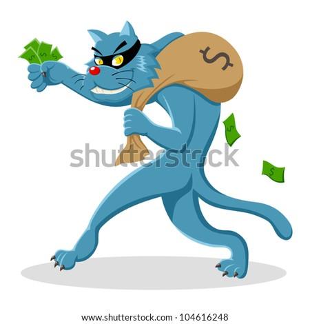 Cartoon illustration of a cat stealing a bag of money - stock vector