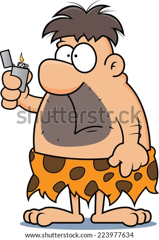 Cartoon illustration of a caveman with a confused expression, holding a lighter.  - stock vector