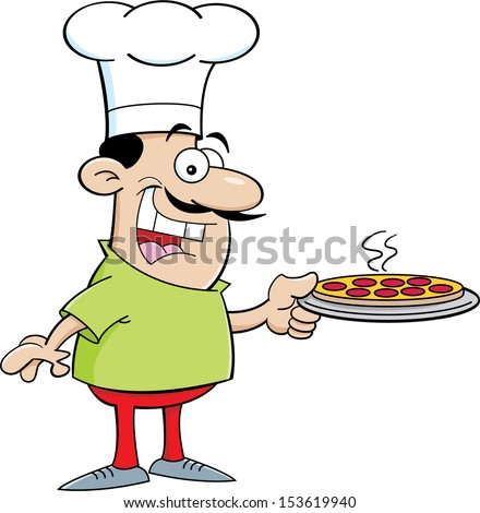 Cartoon illustration of a chef holding a pizza - stock vector
