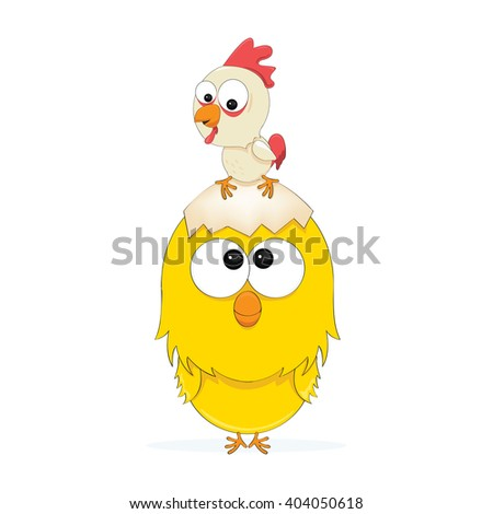 cartoon illustration of a chicken and a chick - stock vector