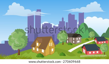 Cartoon illustration of a city suburb with road to downtown - stock vector