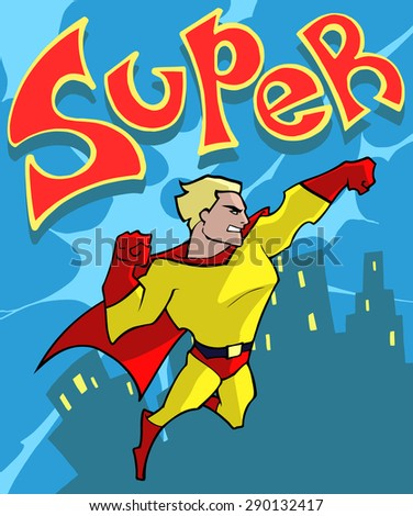 Cartoon illustration of a classic superhero in red and yellow super costume