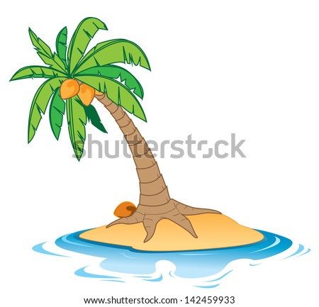 Cartoon illustration of a coconut tree on a small empty island