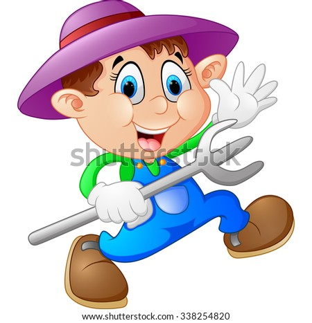 Cartoon illustration of a farmer - stock vector