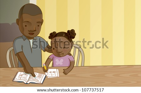 Cartoon illustration of a father helping his daughter with her math homework. Add your own text in the corner, or crop it to make a balanced square composition.