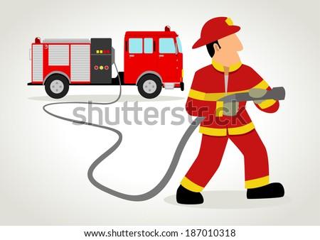 Cartoon illustration of a firefighter - stock vector