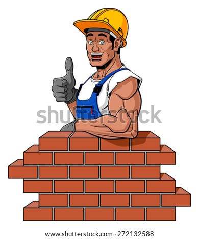 Cartoon illustration of a friendly bricklayer. He is leaning on a brick wall under construction (with space for your text) and he is giving a thumbs up. Isolated on white background. - stock vector
