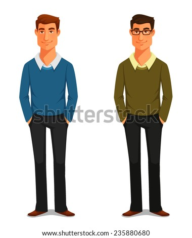 cartoon illustration of a friendly young man in casual clothes - stock vector
