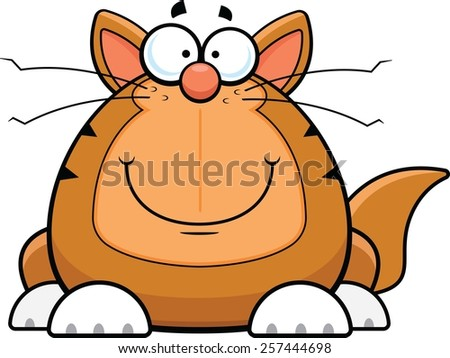 Cartoon illustration of a funny cat with a happy expression.