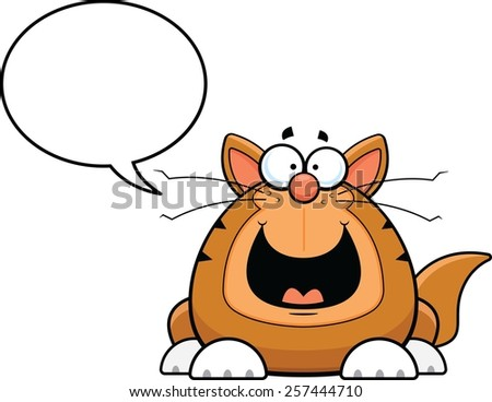 Cartoon illustration of a funny cat with a speech bubble.