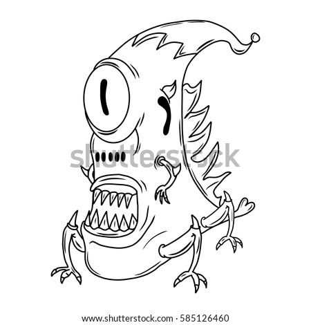 Cartoon illustration of a  funny, crazy alien or monster.  Original illustration. Could be used for coloring book.