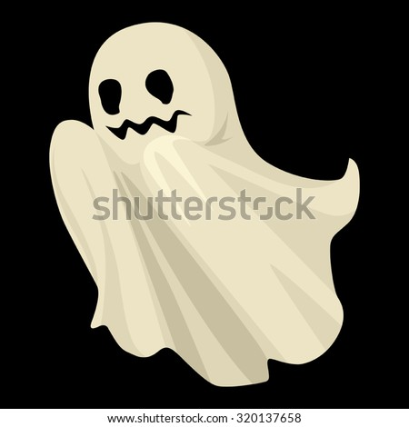 Cartoon illustration of a ghost for Halloween theme - stock vector