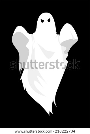 Cartoon illustration of a ghost on black background - stock vector