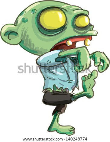 Cartoon illustration of a ghoulish undid green zombie , isolated on white - stock vector