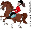 Cartoon illustration of a girl riding  her horse. - stock