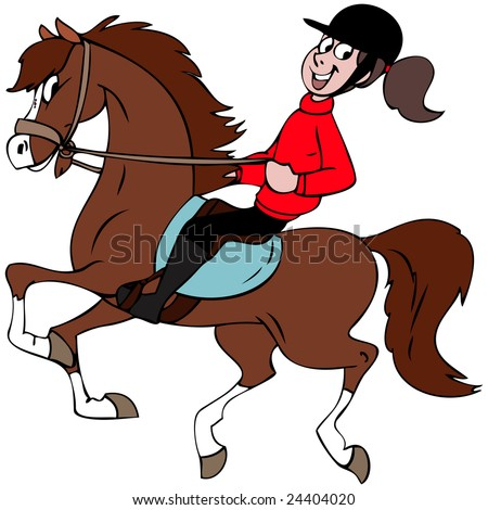 Cartoon illustration of a girl riding her horse stock vector