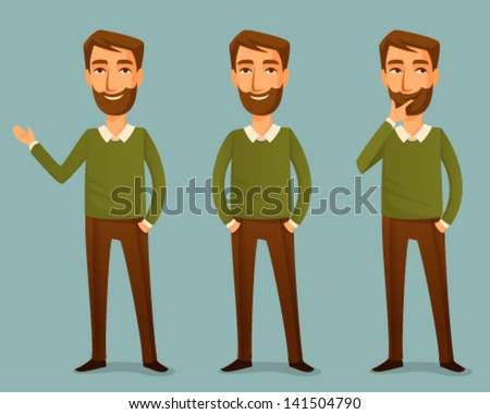 cartoon illustration of a handsome young man with beard - stock vector