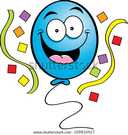 Cartoon illustration of a happy balloon with streamers