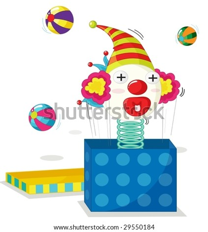 cartoon illustration of a jack in the box - stock vector