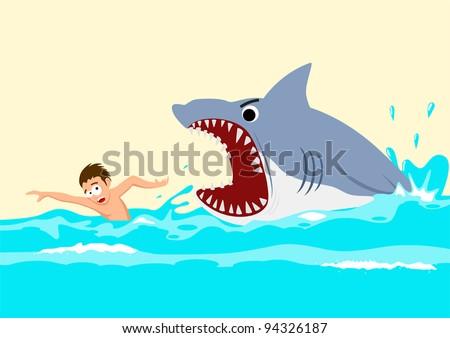 cartoon illustration man avoiding shark attacks stock