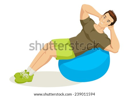 Cartoon illustration of a man exercising using fitness ball - stock vector