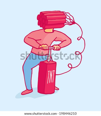 Cartoon illustration of a man ready to blow his head with dynamite - stock vector