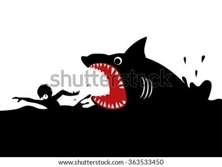 Cartoon illustration of a man swimming panic avoiding shark attacks - stock vector
