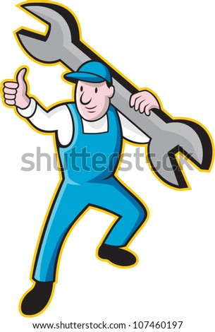 Cartoon illustration of a mechanic worker carrying giant spanner wrench holding thumb up on isolated white background.