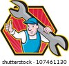 Cartoon illustration of a mechanic worker carrying giant spanner wrench holding thumb up set inside hexagon. - stock photo