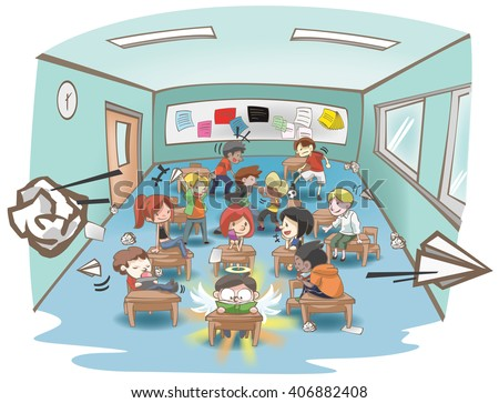 Cartoon illustration of a messy school classroom full of naughty and stubborn students but only one is studying hard like a white sheep in a group of black sheep concept. vector - stock vector