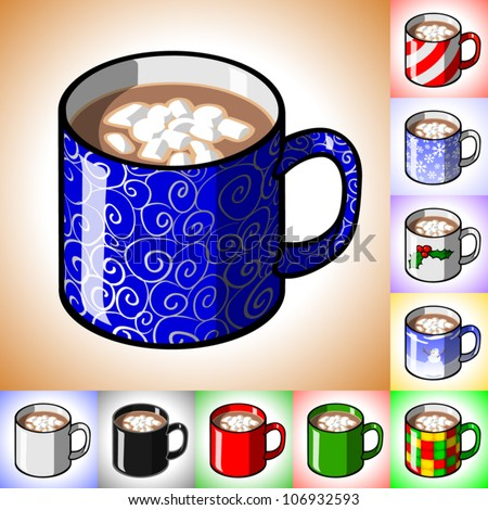 Cartoon illustration of a mug of hot cocoa with mini marshmallows floating in it. Includes many alternative designs on the mug.