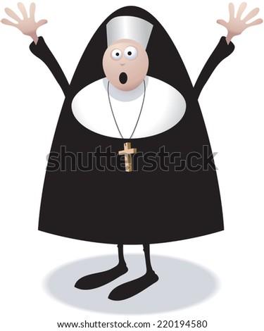 Cartoon illustration of a nun character shouting or afraid. - stock vector