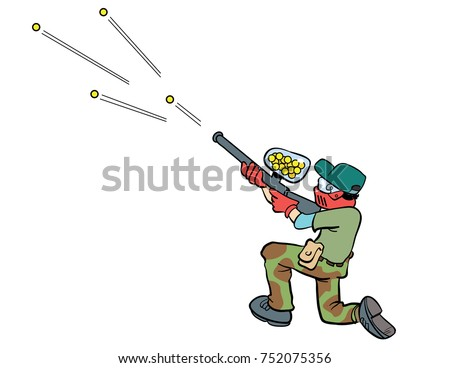 cartoon illustration of a person shooting a paint ball gun