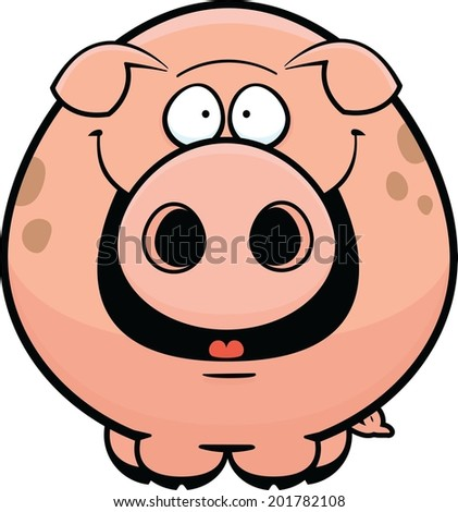 Cartoon illustration of a pink pig with a happy expression. - stock vector